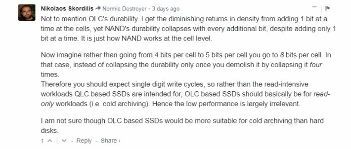 另一網友 Nikolaos Skordilis 留言,分析 OLC 可能只用於儲存冷資料。