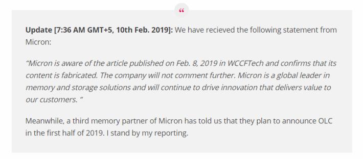 Wccftech 表示收到 Micron 的回應,指他們 OLC NAND 的消息全是偽造,不過他們堅決所有消息皆為真確。