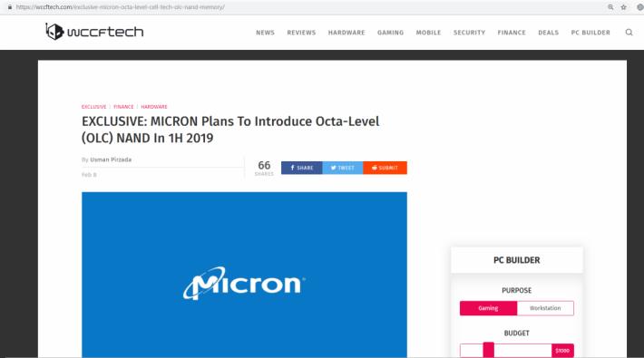 Wccftech 發文指掌握到獨家消息,Micron 將於 2019 年上半年推出 OLC NAND Flash。