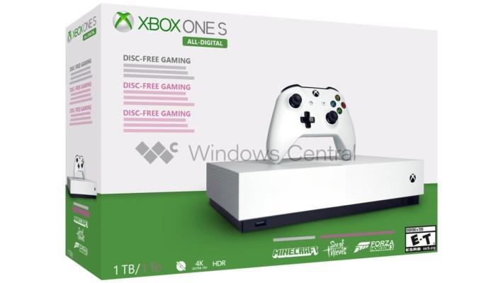 報道中的 Xbox One S All-Digital Edition 包裝設計,為保護消息來源而以 Photoshop 重製。可以見到包裝盒左下角有個畫上刪除線的光碟符號,盒面上還有三款同梱遊戲的標誌(來源: Windows Central )