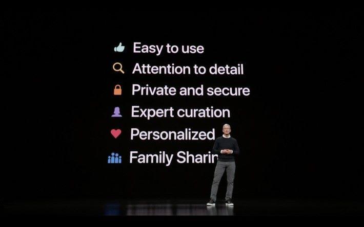 Tim Cook 強調各種服務 6 大原則製作,包括容易使用、注重細節、著重私隱和保安、經過專家挑選、個人化和能與家人分享。