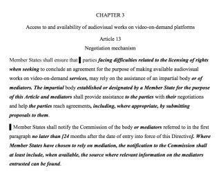 『數碼單一市場的版權』修訂案中的第 13 條要求平台營運上開發有效技術去確保用戶上傳的作品得到版權持有人同意。