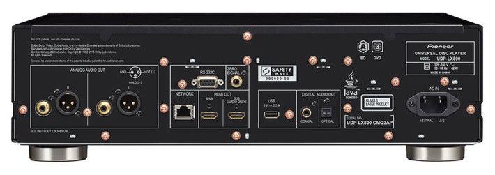 UDP-LX800 背面有獨立的音響專用輸出,包括高級 RCA 插座,同時也有 XLR 平衡輸出,供直駁兩聲道後級用。