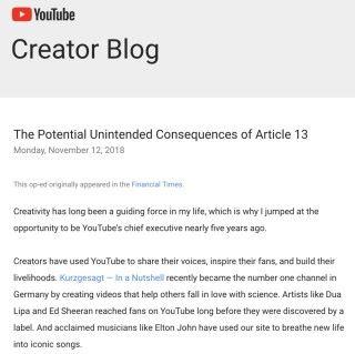 YouTube CEO Susan Wojcicki 去年發文指因為作品涉及眾多不明的版權持有人,這不確定性令商業機構不得不封鎖用戶上傳的內容以免冒上財務風險。