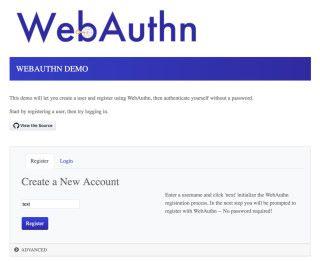 在支援 WebAuthn 的網站註冊,只需設定登入名稱,毋需設定密碼。