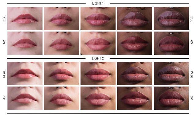 真實化裝在機械學習的 AR 化妝效果以不同光源進行比較,不放在一起實在看不出來。