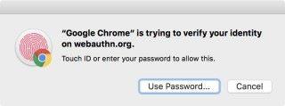 如果選擇電腦內建的認證方式的話,以筆者所用的 MacBook Pro 來說,就會要求用戶用指紋認證。
