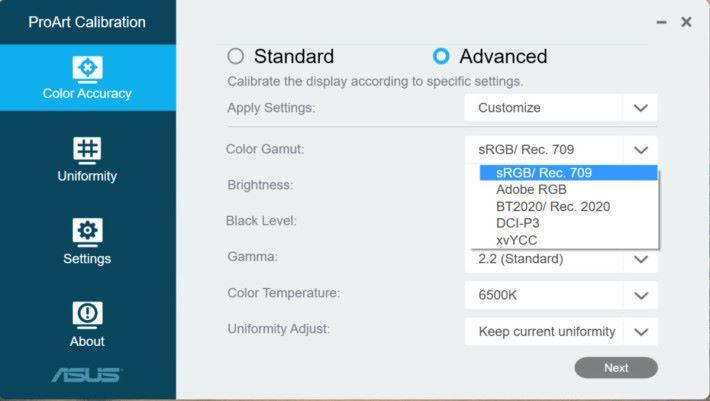 支援 ProArt Calibration 功能,讓用家能輕鬆地調校屏幕色準。