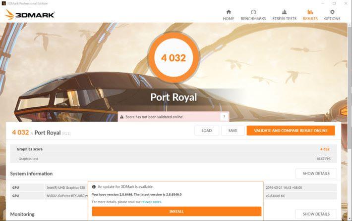 於 3DMark 中《Port Royal》得分 4,032 分,表示 GS75 Stealth 開啟 DXR 效果令人滿意。