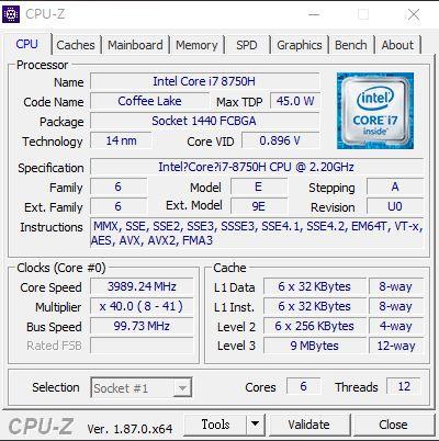 採用 Intel 第 8 代 i7-8750H 處理器