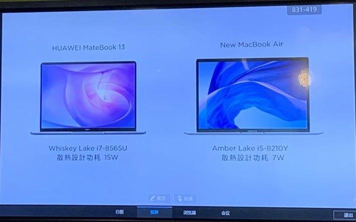MateBook 13 CPU 功耗較高,因此性能也比 MacBook Air 的 Y 系 CPU 為佳。