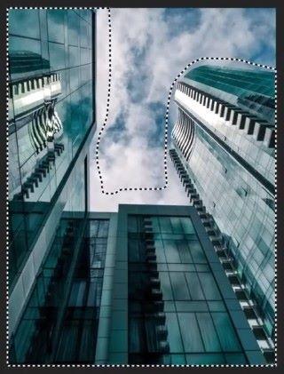 並在建築物周圍拖曳勾選建築物部分。