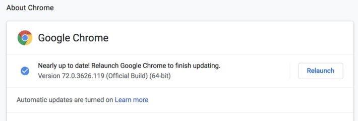 進入「 About Chrome 」頁面,就會強制 Chrome 進行版本檢查。