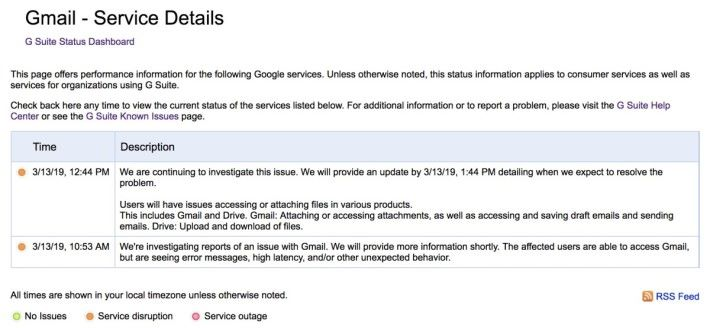Google 表示問題包括難以存取電郵附件、儲存電郵草稿和上傳下載檔案到 Google Drive 。他們表示將於今日下午 1 時 44 分說明詳情及預計何時恢復。