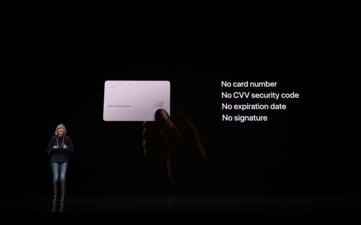 Apple Card 有一張以鈦金屬製的實體卡,但不會印上卡號。