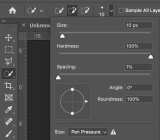 設置畫筆如下:尺寸:10px、硬度:100%、間距:1%