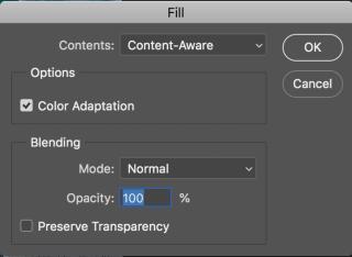 內容選擇內容感知(Content-Aware),然後按確定。
