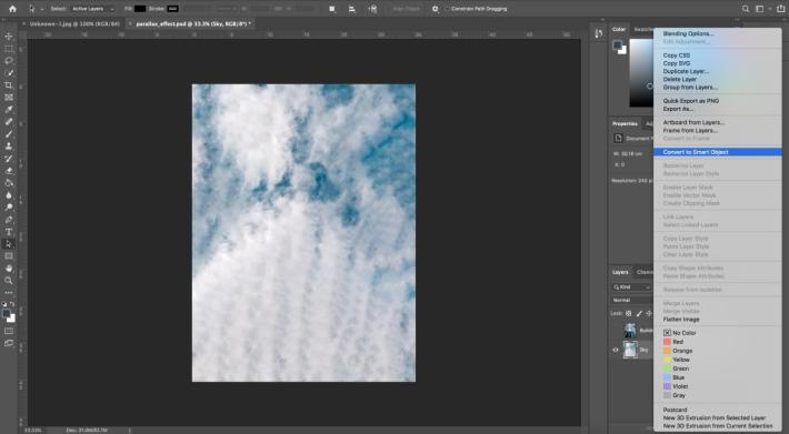 在圖層面板中,在「sky」圖層按右鍵並點選「轉換為智慧物件」 (Convert to Smart Object)。