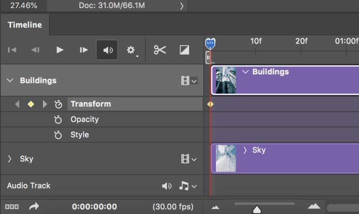 展開時間軸中「Buildings」圖層,按一下 變形(Transform)時間軸前方的秒錶圖示,以增加播放頭的主要影格,此時菱形圖示變為實心黃色菱形。