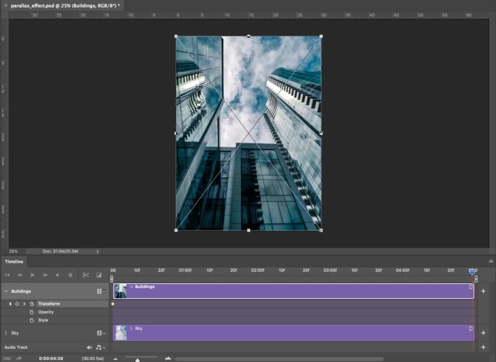 將播放頭移到時間軸的末尾,並點選編輯(Edit)>變形(Transform)>Scale,把「Buildings」圖層中的建築物縮至其原始大小,再按下Return或Enter鍵。此時會自動為「building」圖層增加主要影格。