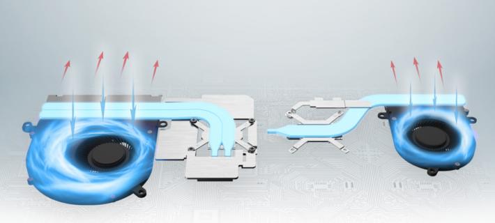通常筆電廠會獨立多設一把風扇及散熱導管給右邊的 GPU。