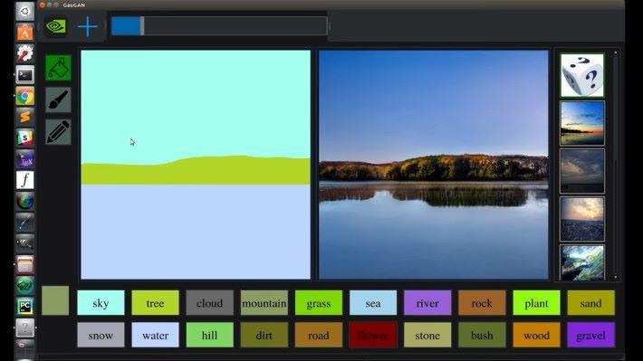 單是塗上水、森林和天的顏色,就可以生成湖畔的圖像。