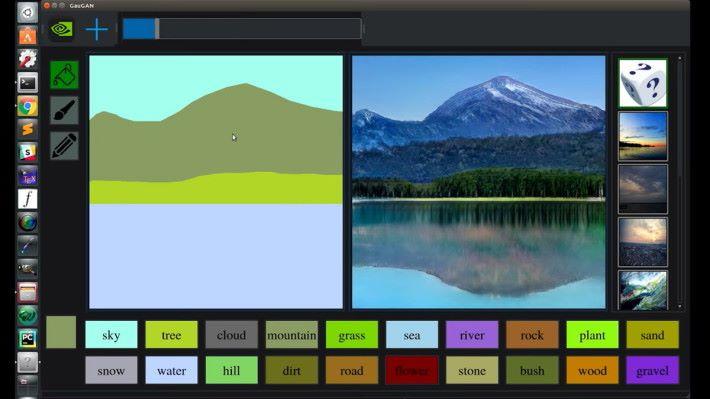 填上山的顏色,就變成一座有存在感的山。還要留意水中的倒影。
