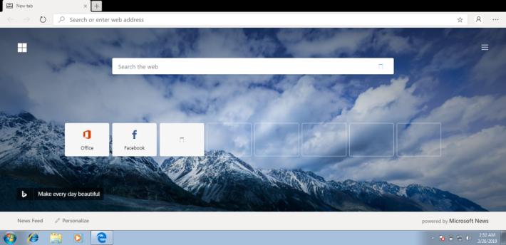 網上流傳的初版可於 Windows 7 上運作,主頁顯示常用網站及自訂風格。頂行的圖示位置與 Chrome 相近。Source:Wccftech