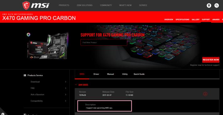 MSI X470 Gaming Pro Carbon 標明 BIOS 更新是為了支援 AMD 新 CPU。