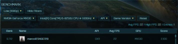 很接近 MX130 的 22fps。