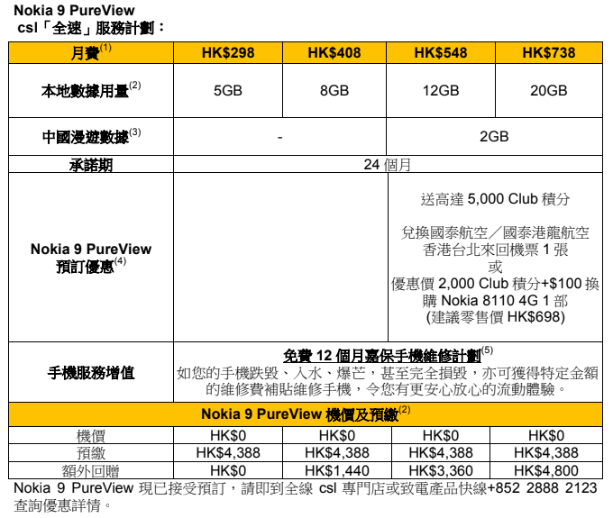 選用指定 csl或 1O1O 的「Nokia 9 PureView 買機上台服務計劃」,便可享零機價優惠,並將獲贈國泰航空/國泰港龍航空香港台北來回機票乙張,或以優惠價換購 Nokia 8110 4G 乙部。