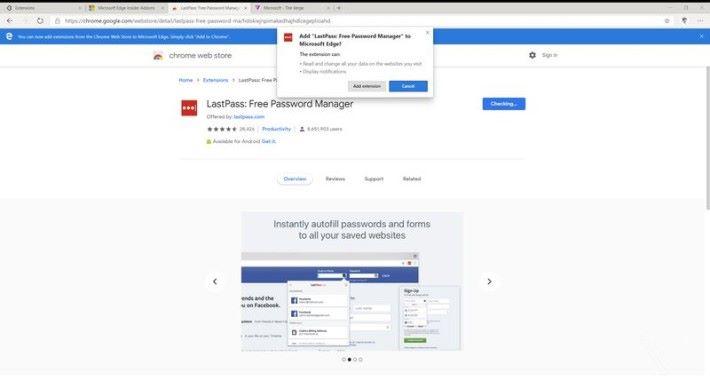 安裝擴充功能,步驟與 Google Chrome 一樣。Source:The Verge