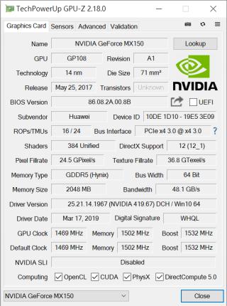 採用 NVIDIA MX150 獨顯。