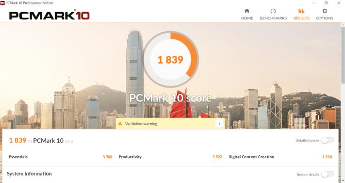 PCMark 10 有 1,839 分。