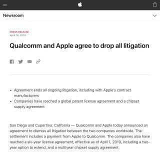 Apple 發表聲明與 Qualcomm 達成和解