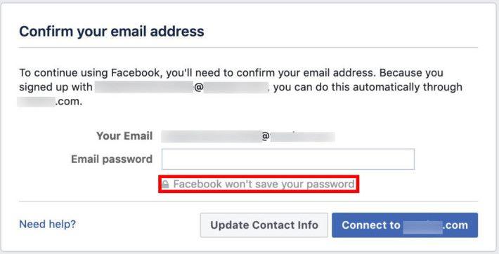 Facebook 要求部分使用指定電郵供應商的新註冊用戶在註冊時,輸入電郵密碼以驗證身分。