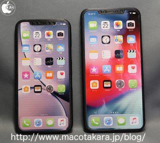 左邊是 6.1 吋 OLED 屏幕的 iPhone XI 3D 打印樣辨,右邊則是 6.5 吋的 iPhone XI Max 樣辨。