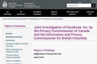 第一單:加拿大私隱委員會建議加拿大政府就劍橋分析事件檢控 Facebook 。