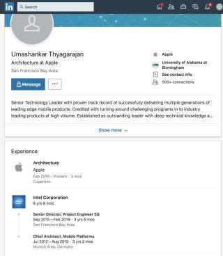 Thyagarajan 在 LinkedIn 的個人檔案顯示他已經在 2 月跳槽到 Apple