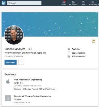 Caballero 的 LinkedIn 個人資料仍然標示自己在 Apple 工作