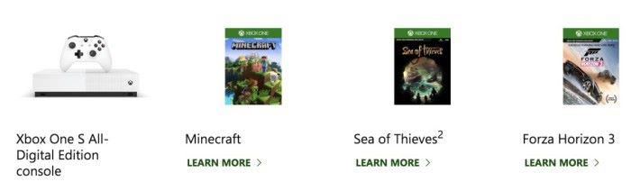 隨機附送了《 Forza Horizon 3 》、《 Sea of Thieves 》和《 Minecraft 》三款遊戲的下載碼
