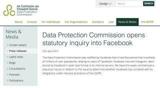 第二單:愛爾蘭就 Facebook 以平文保存用戶密碼一事調查她們有沒有違反 GDPR 。