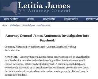 第三單:紐約州總檢察長決定調查 Facebook 在未得用戶同意下收集 150 萬用戶聯絡人資料事件。