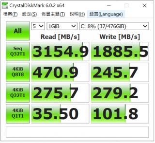 CrystalDiskMark 的效能相對地高,跟使用 PCI-E x4 SSD 不無關係。