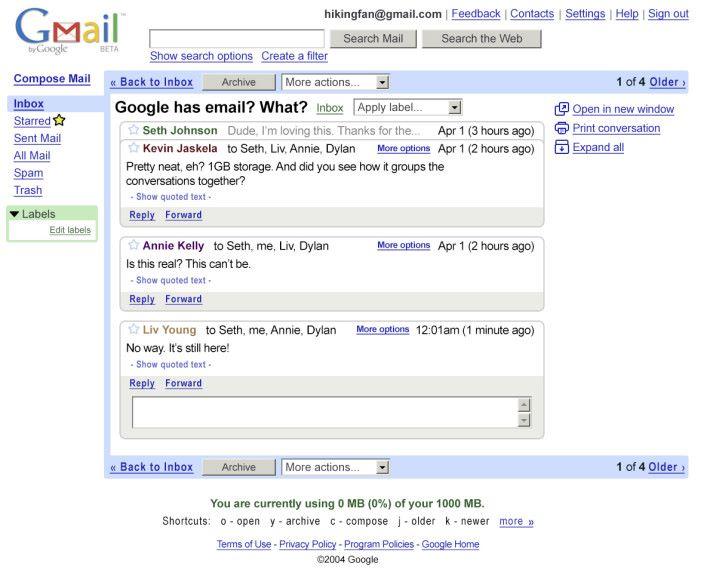 2004年,第一代 Gmail 推出