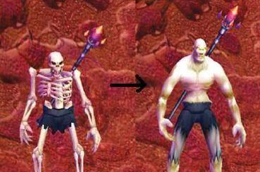 《魔獸世界》之前就有骨頭人變成裸男的例子。