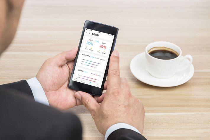 Businessmen use smartphones