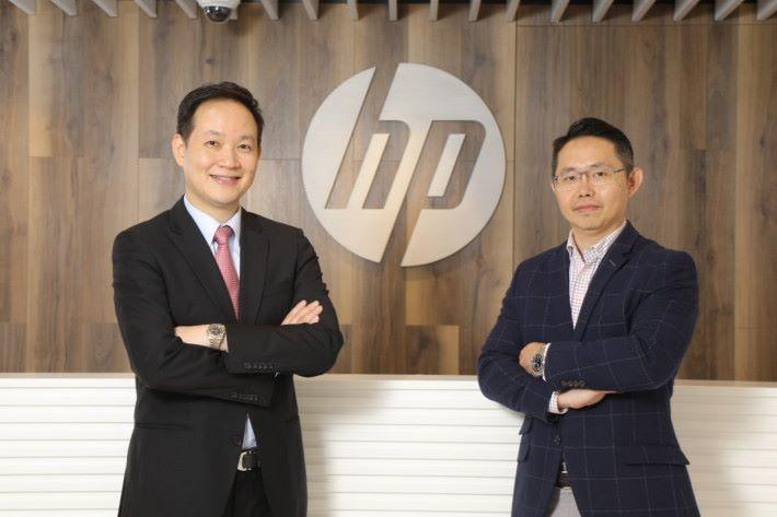 江錦全(左)及張冠灝均認為,企業應多留資源在數碼轉型,電腦支援服務等日常工作應交由可信的服務供應商,HP DaaS為此而來。