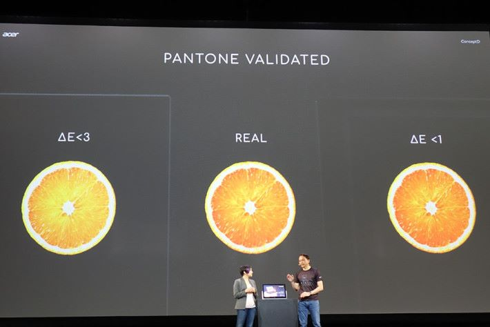 目前幾款新推出的 ConceptD 筆電,均會具備有 Pantone 認證,當中 ConceptD 9 為的 DeltaE <1。其他兩款 Concept 7/5 為 DeltaE <2。