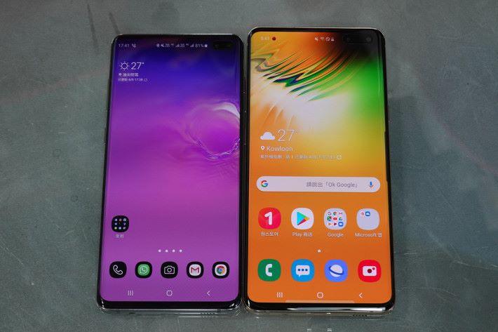 同 Galaxy S10+ (左),比較,大小分野明顯。
